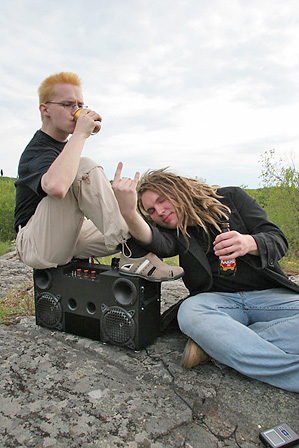 Ghettoblaster action shot - me and maza